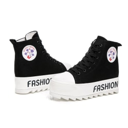 Svarta sneakers, 5 cm höga sulor Black 35