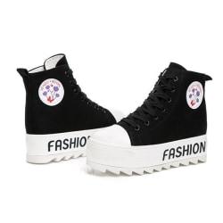Svarta sneakers, 5 cm höga sulor Black 36