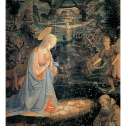 The Adoration of the Infant Jesus,Fra Filippo Lippi,50x50cm multifärg