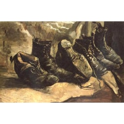 Three Pairs of Shoes,Vincent Van Gogh,49x72cm
