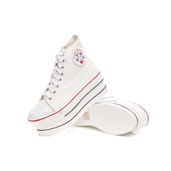 Vita sneaker med 7 cm höga sulor White 37