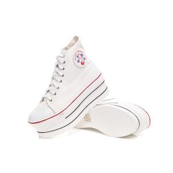 Vita sneaker med 7 cm höga sulor White 35