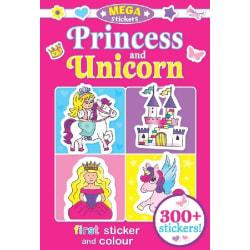 UNICORN Målarbok med 300+ klistermärken PRINSESSOR Pysselbok