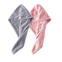 2-pack hårhandduk mikrofiber - Grå/rosa