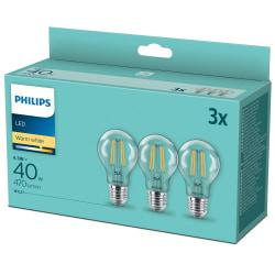 3-pack LED E27 Normal Klar 40W 470lm Varmvit Vit