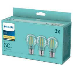 3-pack LED E27 Normal Klar 60W 806lm Varmvit Varm vit