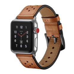 Apple Watch armband i äkta läder med hål 42/44 mm - brun