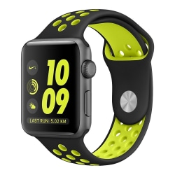 Armband till Apple Watch 42 mm sportmodell - svart/gul