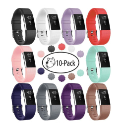 Armband till Fitbit Charge 2, 10-pack (S) - olika färger