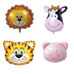 Djurballonger 4-pack Lejon Tiger Ko Gris