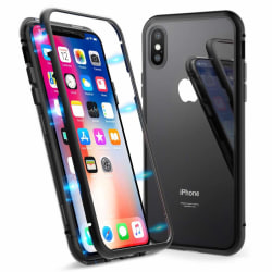 Dubbelsidigt iPhone X / iPhone XS magnetiskt skal - härdat glas/ Transparent