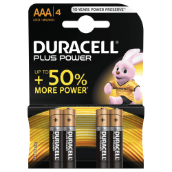 Duracell Plus Power AAA Batteries, 4pk
