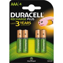 Duracell Recharge Plus AAA 750mAh Batteries, 4pk