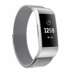Fitbit Charge 3/4 armband Milanesisk loop Silver (S)