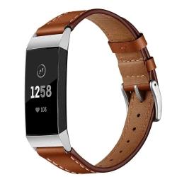 Fitbit Charge 3/4 armband i äkta läder - brun Brown