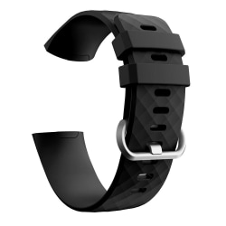 Fitbit Charge 3/4 armband silikon Svart/Silver (L) Svart