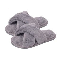Fluffiga slippers för inomhusbruk Grå (38-39) grå one size