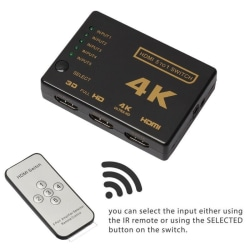 HDMI Switch 5x1 - 4K2K / 3D med fjärr Black