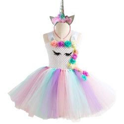 Klänning med tyllkjol och diadem - Vit topp, 6-7 år