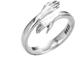 Kramring med kramande händer silverfärgad (1.8 cm)