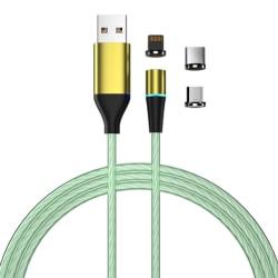 Laddkabel med LED & dammplugg - MicroUSB/USB-C/Lightning - Grön