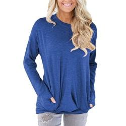 Långärmad tröja med fickor Blå (S)