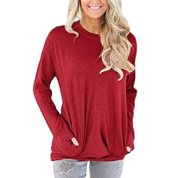 Långärmad tröja med fickor Röd (S)