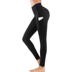 Leggings Hög Midja Yoga Fitness Svart (XL)