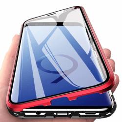 Magnetiskt skal för Samsung Galaxy S9 med skärmskydd - röd