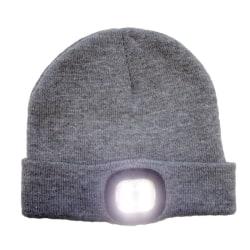 Mössa med LED ljus uppladdningsbar - grå