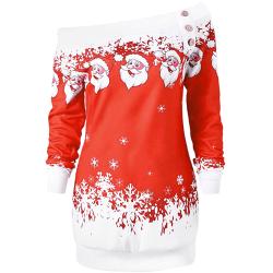 Off-shoulder tjocktröja med julmönster - Stl M, Röd