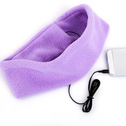 Pannband med inbyggda hörlurar - lila