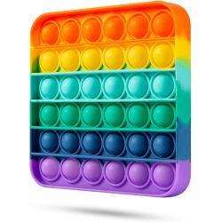 Pop it Fidget leksak kvadrat Regnbågsfärger