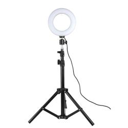 Roterbar selfiering på stativ med LED-lampor, 25 cm - Svart