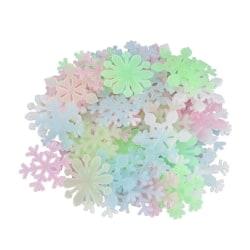 Självlysande snöflingor 50 klistermärken Färgmix