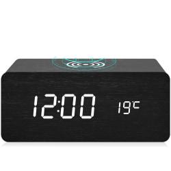 Smart LED väckarklocka med trådlös laddning - svart