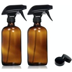 Sprayflaskor i glas för refill 2-pack Brun (473 ml) Brun