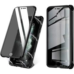 Stöttåligt mobilskal i dubbelsidigt härdat glas för iPhone 6 Plu Svart