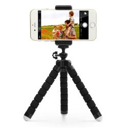Tripod - böjbart trebensstativ med fjärr för mobil och kamera Svart
