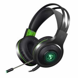 V5000 Gaming Headset med LED grön - USB+3.5 mm