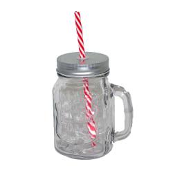 Glasburk med lock sugrör och praktiskt handtag inga getingar Transparent