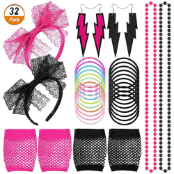80s Party Costume Accessories Set Women and Girls