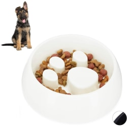 Anti Sling Bowl for Dogs & Cats Slow Feeding Bowl White