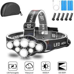 Strålkastare LED 18000LM Head Torch USB uppladdningsbart 8 lägen