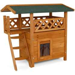 Lodge Cat House (Wood, 77 x 50 x 73 cm) Natural / brown