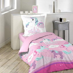 Unicorn Bedding Set with Pillowcase, Cotton, multicolored