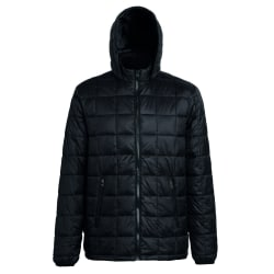 2786 Herr Box Quilt Hooded Zip Up Jacka 2XL Svart