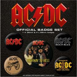 AC/DC Knappmärkesuppsättning One Size Svart röd