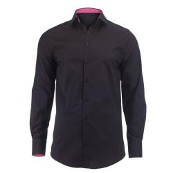 Alexandra Mens Roll Sleeve Hospitality Work Shirt S Svart / rosa