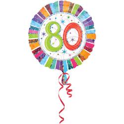 Amscan 18 tum Rainbow Stripe Circular Foil 80-årsdag ballong One